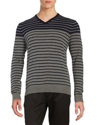 Black Brown Striped V Neck Sweater Dark Navy