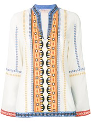Tory Burch Bohemian Embroidered Tunic Nude And Neutrals