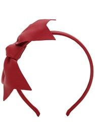 Red V Leather Headband W Bow Red