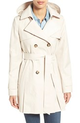 Women's Halogen Detachable Hood Trench Coat Muslin
