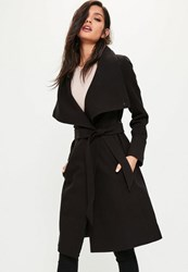 Missguided Black Waterfall Belted Funnel Neck Coat