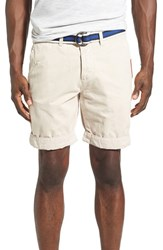 Superdry Men's 'International' Belted Chino Shorts Stone