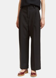 Lanvin Pleat Cropped Wide Leg Pants Black