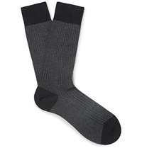 Pantherella Fabian Herringbone Cotton Blend Socks Black