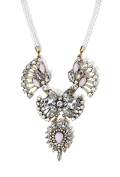 Forever 21 Rhinestone And Faux Gem Statement Necklace Ivory Clear