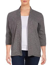 Rafaella Plus Stud Trim Open Front Cardigan Grey
