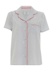 Dickins And Jones Embroidered Revere Top Grey