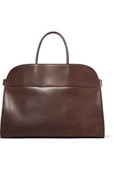 The Row Margaux 17 Buckled Leather Tote Brown