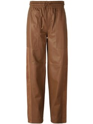 Joseph Loose Fit Straight Trousers Brown
