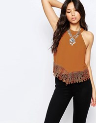 Glamorous High Neck Top With Crochet Hem Tan Brown
