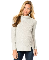 A Pea In The Pod Maternity Cable Knit High Low Wool Sweater Heather Ash Grey
