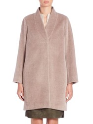 Piazza Sempione Llama Wool And Wool Shawl Collar Coat Camel
