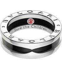 Bulgari Save The Children One Band Sterling Silver And Black Ceramic Ring