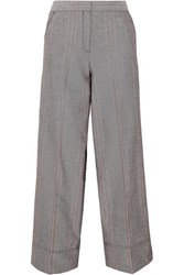 By Malene Birger Enilas Checked Cotton Blend Twill Wide Leg Pants Gray
