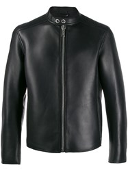 Les Hommes Band Collar Leather Jacket Black