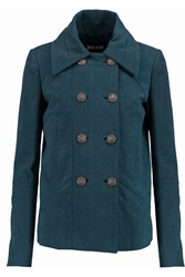 Just Cavalli Chevron Paneled Wool Blend Coat Blue