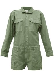Frame Washed Cotton Playsuit Khaki