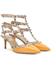 Valentino Rockstud Patent Leather Kitten Heel Pumps Orange