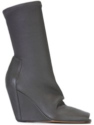 Rick Owens Wedge Booties Grey