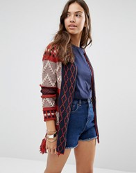 Only Salvia Geo Border Pattern Cardigan Cream Orange Print Navy
