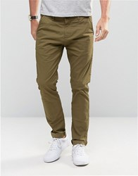 Solid Skinny Fit Chinos With Stretch Khaki Green