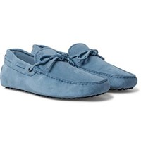 Tod's Gommino Suede Driving Shoes Light Blue