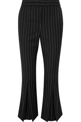 Frame Cropped Pinstriped Wool Blend Flared Pants Black