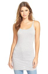Petite Women's Halogen Long Layering Tank Medium Heather Grey