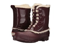 Hunter Original Patent Leather Lace Up Shearling Lined Boot Dulse Women's Rain Boots Brown