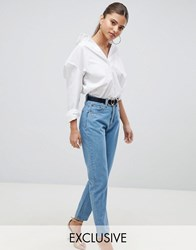 Prettylittlething Straight Leg Jean Mid Wash Blue