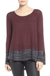 Junior Women's Sun And Shadow Colorblock High Low Tee Burgundy Stem
