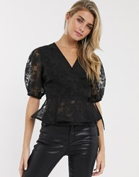 Lipsy Wrap Top With Puff Sleeves In Black Burnout Floral
