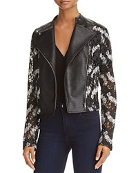 Aqua Yigal X Lace And Faux Leather Moto Jacket 100 Exclusive Black White