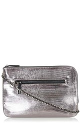 Topshop Embossed Faux Leather Clutch