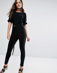 Lipsy Cold Shoulder Jumpsuit With Belt Black