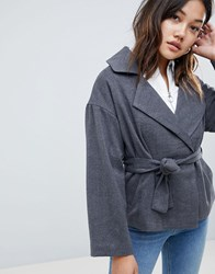 Native Youth Cropped Jacket With Tie Waist Grey