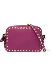 Valentino The Rockstud Textured Leather Shoulder Bag Magenta
