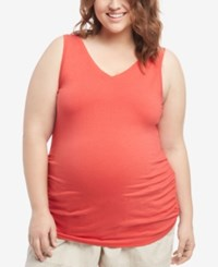 Motherhood Maternity Plus Size Ruched Tank Top Red