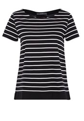 Hallhuber Striped Top With Back Pleat Black