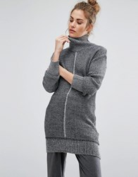 Daisy Street Cocoon Jumper With Tonal Details Grey