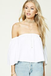 Forever 21 Off The Shoulder Crop Top White