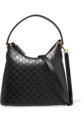 Gucci Linea A Hobo Embossed Leather Shoulder Bag Black