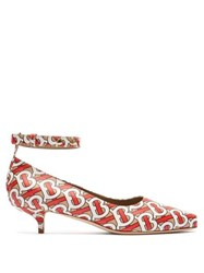 Burberry Dill Logo Print Leather Pumps Red Multi