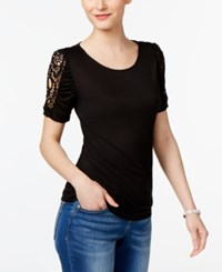Inc International Concepts Lace Inset T Shirt Only At Macy's Deep Black