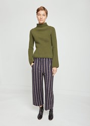 Nehera Priev Striped Terry Wool Pants Grey Beige With Pattern