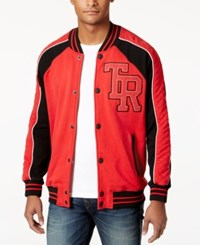 True Religion Men's Collegiate Bomber Jacket Red