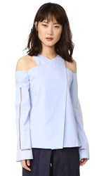 Zeus Dione Anemone Long Sleeve Blouse Sky Blue