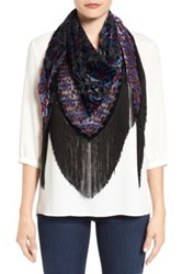 Collection Xiix Ikat Print Fringe Scarf Black