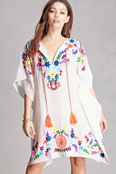 Forever 21 America And Beyond Flower Poncho White Multi
