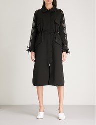 Huishan Zhang Scalloped Crepe And Silk Coat Black Black